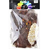Touch of Nature 38999 Packed Feather Assortment for Arts and Crafts, 7gm, Chestnut/Natural/Brown