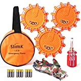 SlimK 3 Pack LED Road Flares, Roadside Safety Discs -Emergency Warning Light Flashing Beacon Kit for Cars Motorcycle Bikes Trucks Boats,Instant Turn-Off Feature.Come with Storage Bag