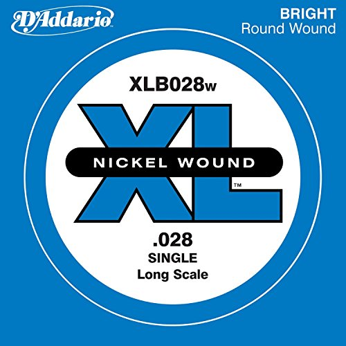D'Addario XLB028W Nickel Wound Bass Guitar Single String, Long Scale, .028 Daddario Nickel Bass Strings