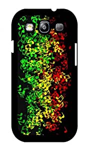 iZERCASE Rastafari Reggae Colors Music Notes RUBBER Samsung Galaxy S3 case