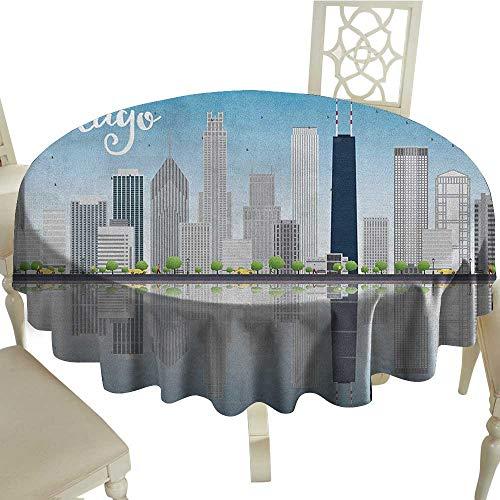 (longbuyer Chicago Skyline Printed Tablecloth Skyscrapers Lake Michigan Illinois Classic American Scenery Street Diameter 70