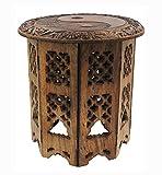DharmaObjects Solid Mango Wood Hand Carved Prayer Puja Shrine Altar Meditation Table Round (YIN YANG)