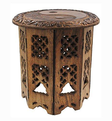 Mango Wood Hand Carved Prayer Puja Shrine Altar Meditation Table Round (YIN YANG) (Carved Altar Table)