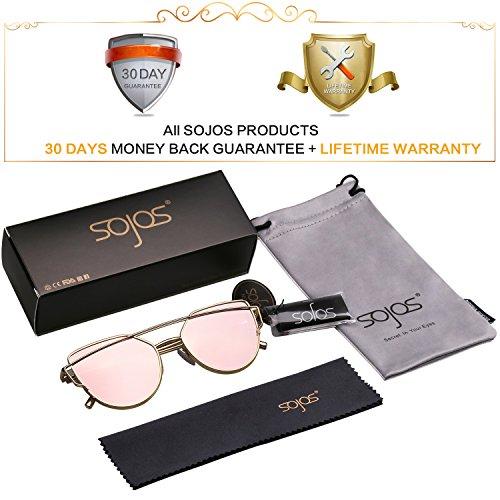 2305d575b67aa SOJOS Cat Eye Mirrored Flat Lenses Street Fashion Metal Frame Women  Sunglasses SJ1001 with Gold Frame