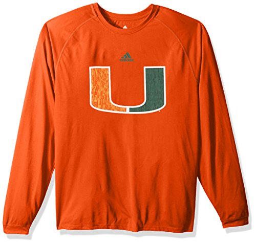 adidas NCAA Miami Hurricanes Adult Men Sideline Spine Climalite L/S Tee, Small, Collegiate Orange -