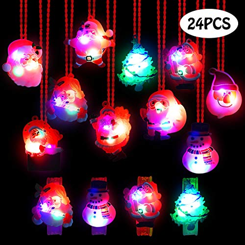 U-Goforst 24 Pieces Christmas LED Light Up Party Favor Toy Necklace Bracelet Wristband for Kids and Adults Flashing Christmas Stocking Stuffers Ornaments Decorations with Gift Packge