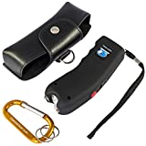 RBS Emporium Stun Gun w/Flashlight, Panic Alarm, Rechargeable Internal Battery, Safety Pin, Wrist Strap, Carabiner & Clip-on Carry Case. Includes Quick Set-up and How To Guides. (Black)