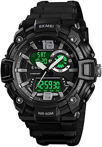 Men Sports Digital Watch Large Dual Dial Multifunction 50m Water Resistant LED Military Army Wrist Watch