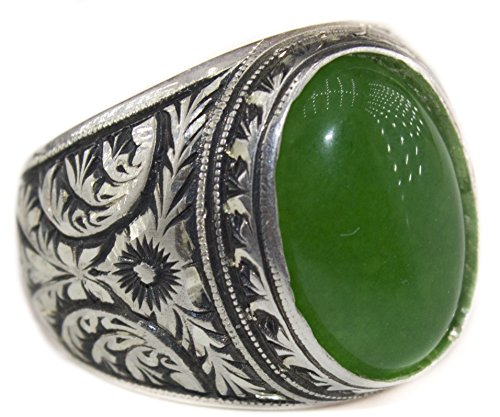 Falcon Jewelry Free Express Shipping, Sterling Silver Men Ring, Natural Jade Gemstone, Steel Pen Craft
