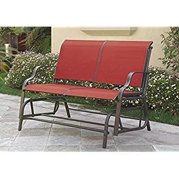 Outdoor Patio Swing Glider Loveseat Bench Chair Steel Frame In Red Patio Lawn