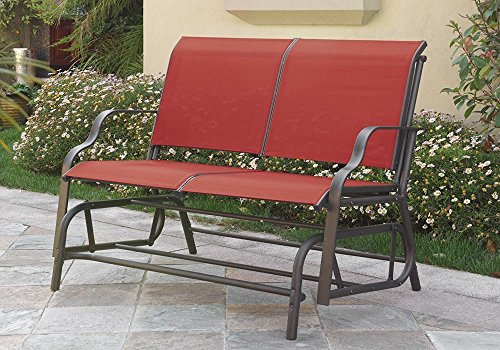 Outdoor Patio Swing Glider Loveseat Bench Chair Steel Frame in Red by Advanced Furniture