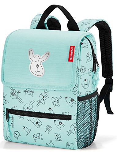 Enhanced Drink - reisenthel Backpack Kids, Safety-Enhanced Design for School and Travel, Cats and Dogs Mint