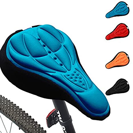 Orange Generic Cycling 3D Silicone Soft Thick Gel Cushion Cover Mountain Bike Bicycle Saddle Seat Pad 4 Colors Optional