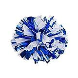 Set of 10 Metallic Foil & Plastic Ring Pom Poms Cheer leading Poms BLUE + WHITE