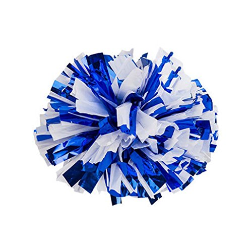 PANDA SUPERSTORE Blue + White Set of 10 Metallic Foil & Plastic Ring Poms Cheer Leading Poms