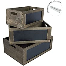 MyGift Rustic Nesting Wooden Storage Crates with Chalkboard Front Panel and Cutout Handles, Set of 3
