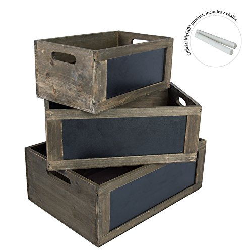 Rustic Nesting Wooden Storage Crates with Chalkboard Front Panel and Cutout Handles, Set of 3