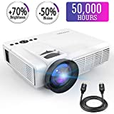 Mini Projector,2018 Upgraded LED Video Projector +70% Brighter,176 Display Portable Home Theater Projector Support 1080P Compatible with HDMI VGA AV USB TF Xbox Amazon Fire TV Stick