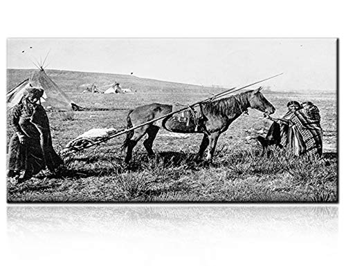 - Modern House Wall Art Decoration Antique Photograph of 19th Century Native American Family on Canvas Painting Home Decor for Living Room HD Poster and Prints Contemporary Artwork 1 Panel(20''Wx40''H)