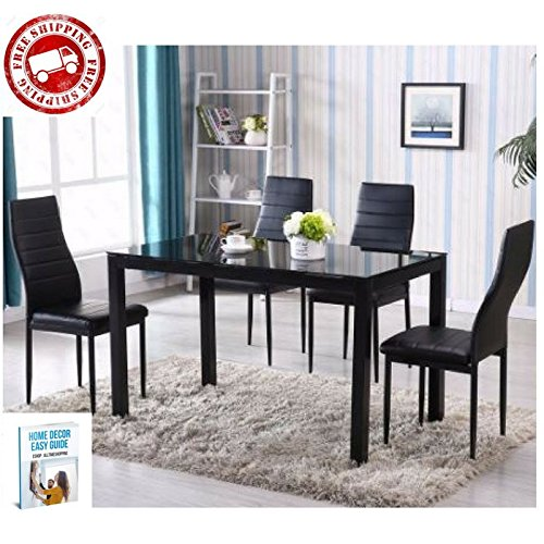 Dining Room Furniture Set Upholstered Table Chairs Modern Kitchen Pad Black Glass Leather Contemporary Comfortable & eBook by AllTim3Shopping