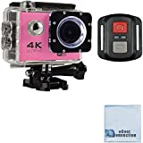 eCostConnection 4K Ultra HD 16MP WiFi Waterproof Sports Action Camera 2.0 (Pink) with Anti-Shake DSP and Wrist RF Remote + eCostConnection Microfiber Cloth