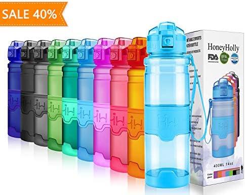 HoneyHolly Botella de Agua Deporte 400ml/500ml/700ml/1l, sin bpa tritan plastico, Reutilizables a Prueba de Fugas Botellas Potable con Filtro para ...