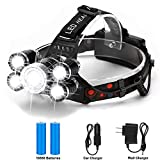 Headlamp, Binwo LED Headlamp Rechargeable Headlamp, CREE 5000 Lumens Brightest Zoomable Head Lamp Flashlight Headlight, IPX45 HeadLamps Best for Camping, Outdoors, Adults