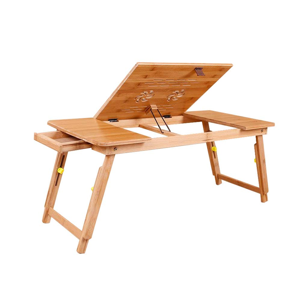 Escritorio de la la de Tabla de la Cama del Ordenador portátil Portátil Ajustable en ángulo y Altura de bambú con Ventilador de refrigeración y cajón (Color : Without Fan) 689a19