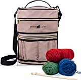 Stitch Happy Designer Knitting Bag Yarn Storage with 7 Multi-Use Pockets and Extra Large Zippered Pocket for Crochet Supplies Inner Organizer Protects Crochet Thread Wool Yarns Tan