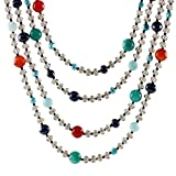 NOVICA Freshwater Cultured Pearl with Carnelian, Quartz and Calcite Stone Necklace, 'Season Glamour'