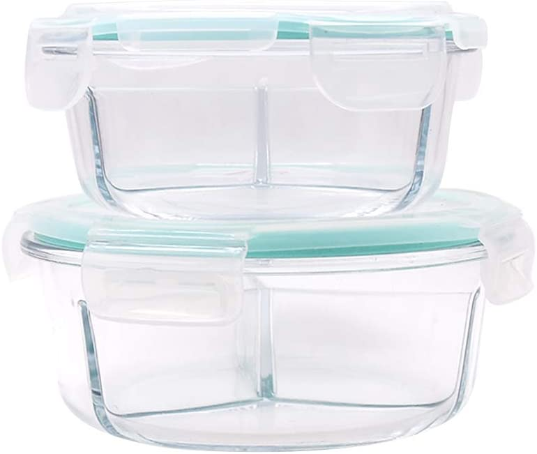 Glass Food Containers with Locking Lids Airtight Round Meal Prep Containers Glass 3 Compartment Glass Food Storage Containers Glass Bento Box Lunch Containers Set of 2, 16 OZ, 26 OZ