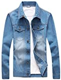 Olrek Men's Casual Wear Cotton Denim Jacket(Sky blue,L size)