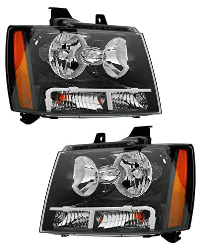 Headlight Replacement For Chevrolet Chevy Tahoe/Hybrid|Suburban|Avalanche Driver Left and Passenger Right Pair Set 2007 2008 2009 2010 2011 Headlamp Assembly