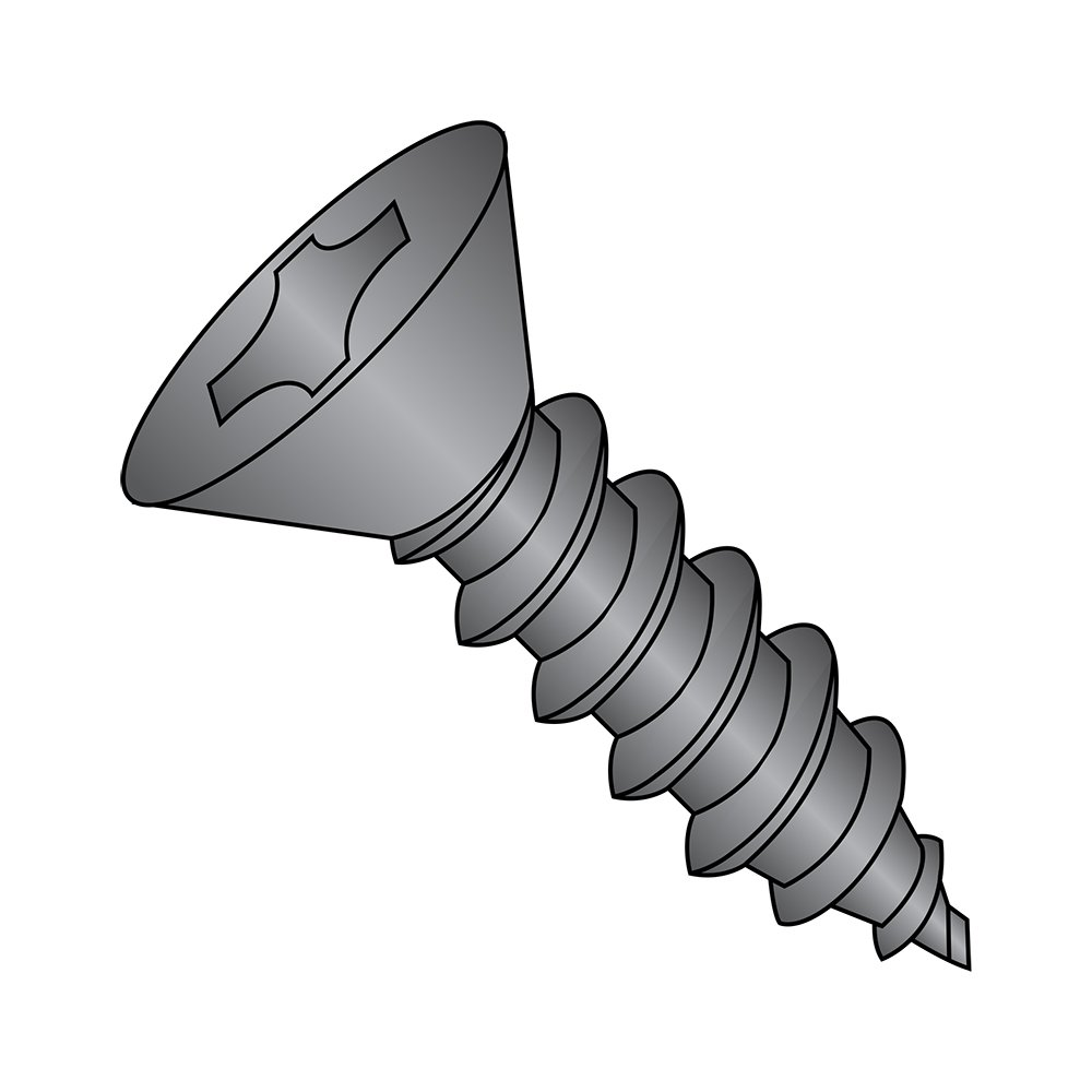 Steel Sheet Metal Screw, Black Oxide Finish,  82 degrees Flat Head, Phillips Drive, Type AB, #4-24 Thread Size, 5/16'' Length (Pack of 100)