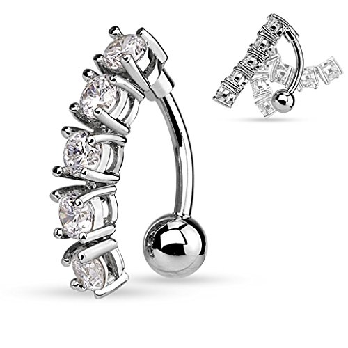 (Pierced Owl 5 CZ Vertical Drop Reverse Belly Button Ring Surgical Steel 14g Top Down Navel Ring (Silver Tone))