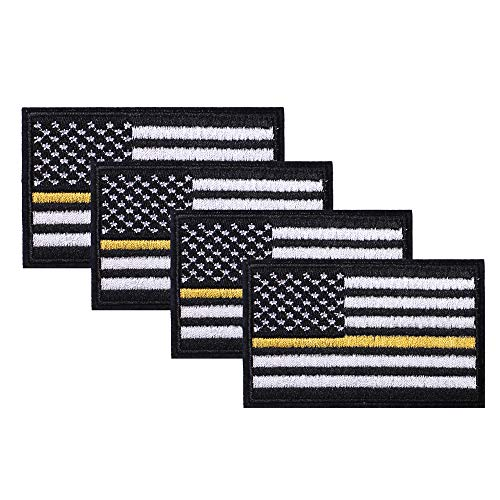 SHELCUP 4 Pack American US Flag Patch, Embroidered Cloth Sew on Iron on Patch, Black-Yellow Thin