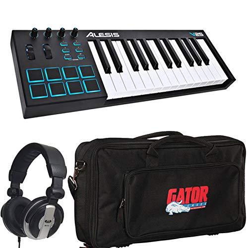 (Alesis V25 25-Key USB MIDI Keyboard Controller & Drum Pad with Gator Bag & Studio Headphones)