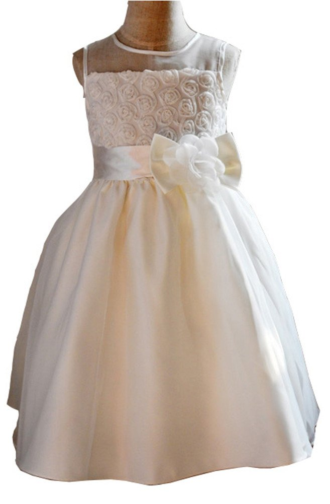 Flower Girl Dress Satin Mesh Sleeveless Wedding Princess White Special Occasion (120cm(47.2 inches))