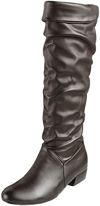 Womens Fashion Knee High Snow Boots,Nevera Warm Comfortable Round Toe Lace-Up Non-Slip Casual Boots Shoes