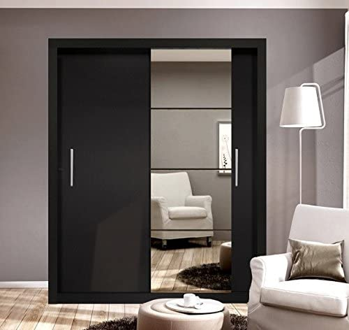 Marca nuevo Set de dormitorio moderno Arti 4 – Espejo Puerta Corredera 150 cm armario, pecho de cajones, armarios de mesilla en negro mate se vende por Arthauss: Amazon.es: Hogar