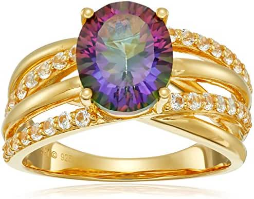 Sterling Silver with Yellow Gold Plating Mystic Fire Topaz and Created White Sapphire Oval Twisted Ring, Size 7