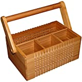 Totally Bamboo Lattice Flatware Caddy With Handle, 100% Bamboo Silverware, Napkin Holder, Condiment & utensil Organizer—Ideal for Kitchen, Dining, Entertaining, Picnics, and much more; Designed in USA