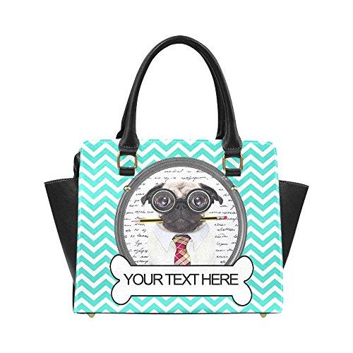 Customized Add Your Custom Text Pug Nerd Dog Chevron Women Shoulder Bag Satchel Bag Purse - Pu Leather