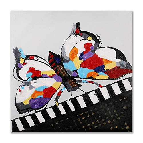 Art Hub 100% Hand Painted Oil Painting Modern Pop Animal Art Décor Butterfly Playing Piano Gallery Wrapped Framed Wall Decoration, 24x24