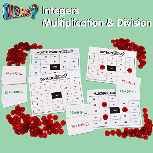 51JBxSu94kL - Learning Advantage QUIZMO Advanced Elementary Math Series - Set of 6 Bingo-Style Math Games for Kids - Teach Fractions, Decimals, Math Vocabulary, Geometry, Place Value and Integers