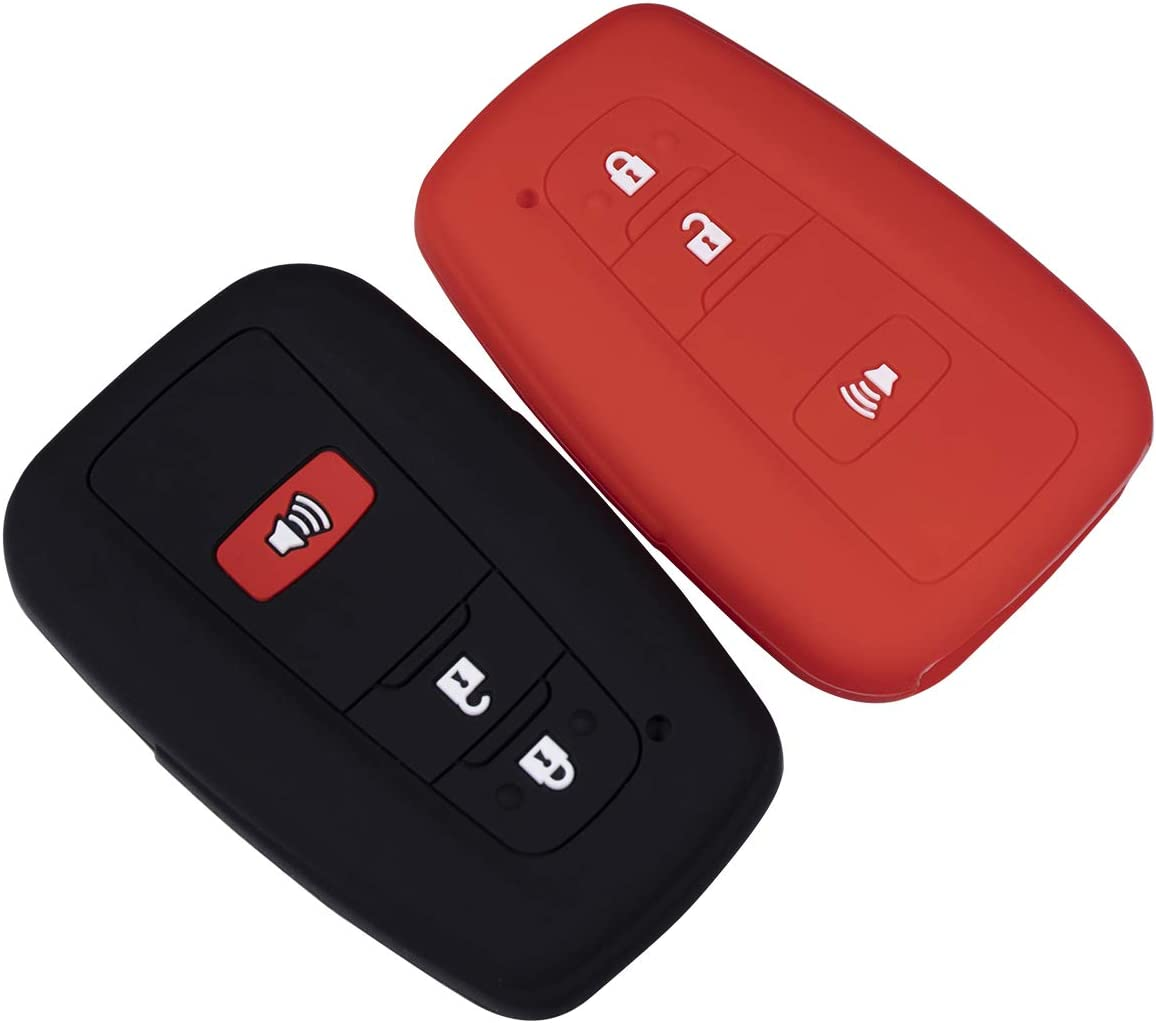 Lcyam Black Red Soft Material Silicone Key Fob Cover Case 3 Button Fits for Toyota Prius Avalon Corolla Camry RAV4 Smart Keyless Remote