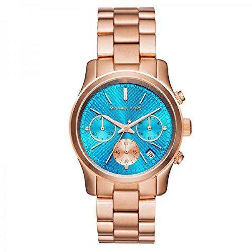 (Michael Kors Blue Dial Rose Gold Tone SS Chronograph Quartz Ladies Watch MK6164)