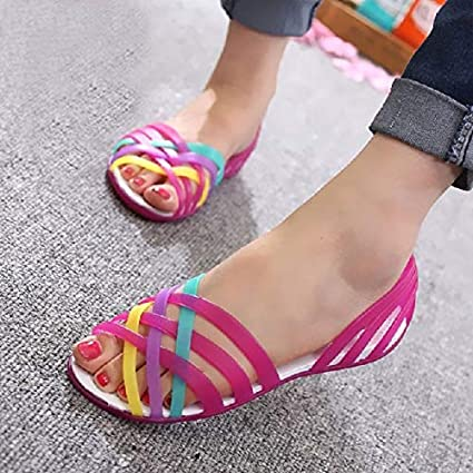 41026f3e00981 Image Unavailable. Image not available for. Color  Candy Color Women  Sandals Croc Jelly Shoes Summer Flat Mixed Colors Ladies 2018 ...