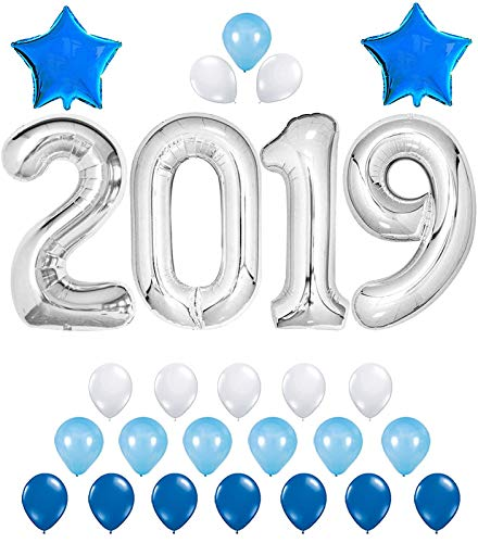 KATCHON 2019 Balloons - Silver/Blue Decorations Kit - Large 40