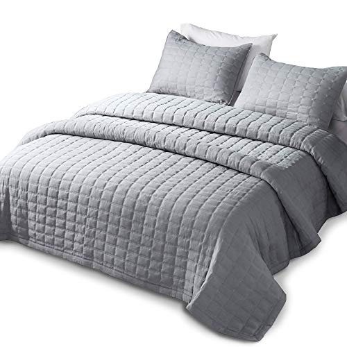 - DOMDEC Bedspread Coverlet Mini Set Down Alternative Comforter Cozy Soft Oversized Pre-Washed 3 Piece Quilt Set Solid Gray Oversize King + 2 King Shams